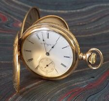Antique 14K Yellow Gold Elgin Double Hunter Pocket Watch, ca1902,15 Jewels, Runs