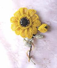 Rare Vintage Designer Signed Vendome Seed Bead Beaded Yellow Flower Brooch