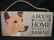 BASENJI A House Is Not A Home DOG PICTURE ART wood SIGN wall PLAQUE puppy doggie