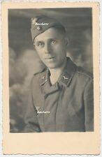 Foto-Portrait Luftwaffe Soldat Fliegerbluse-Schiffchen 2.WK (t707)