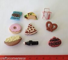 Pizza Pretzels donuts coke tacos chips takeaway Novelty Dress It Up Buttons 3785