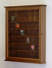 48 Walnut Shot Glass Display Case Wall Cabinet Shelves *Made in the USA*