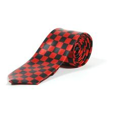 Black and Red Checkered Check Skinny Neck Tie - SKA Fancy Dress Retro Office New