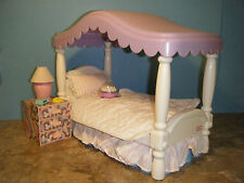 BARBIE SIZE LITTLE TIKES CANOPY BED w/ORIGINAL BEDDING NIGHT STAND & ACCESSORIES