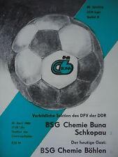 Programma 1985/86 BSG Chemie Buna Schkopau-CH. Böhlen