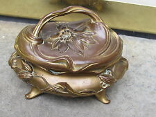 Art Nouveau Jewelry Box Casket Cask Box Melted Flower Lily Buds Gilt Bronze MINT