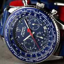 DETOMASO FIRENZE Mens Watch Chronograph Stainless Steel  Blue Leather Strap New