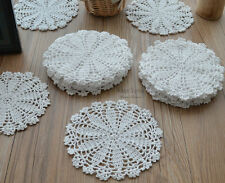"""Lot of 20 Hand Crochet Doilies Coasters 7"""" Round White Snowflake"""
