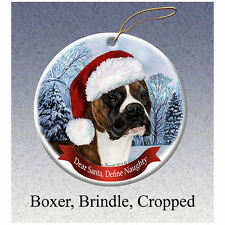 Boxer Brindle Cropped Howliday Porcelain China Dog Christmas Ornament