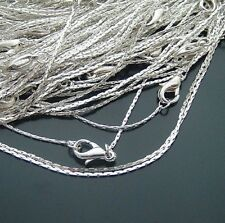 "0.8 MM silver plated snake chain thin chain necklace 16"" 10pcs"