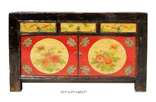 Chinese  Full Moon & Floral Motif  Buffet Table / Side Table Cabinet  f198