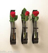 3 MODERN ART Contemporary WALL MOUNT Hanging Slim flower Vase sconce Glass Set