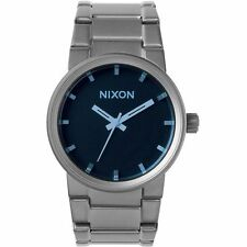 New Nixon A1601427 Men's Cannon Gunmetal/Blue Crystal Analog Watch, 39.5mm Case