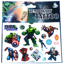 'THE AVENGERS' TATTOO SHEET Boys Kids Birthday Party Bag Fillers Gift Prize Hulk