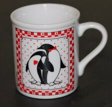 Penguins Hearts coffee mug cup Valentine's Day Gift love