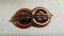 Vintage Embossed Leaf Solid Copper Double Ring Brooch Pin