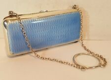 Argent antique gilt blue guilloché émail cigarette case finger ring purse 1913