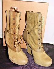 BACIO 61 NATURA OLIVE GREEN LACE SUEDE WEDGE MID-CALF BOOTIE WOMEN'S SIZE 7.5