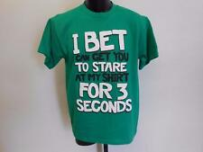 """NEW Funny Graphic Tee """"I Bet I Can Get You To Stare"""" YOUTH LARGE L 14-16 Shirt"""