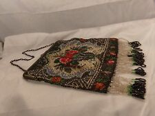 ANTIQUE PURSE-HAND BAG-BEADED-10 INCH-FLOWERS-1920s?1930s?-NR!
