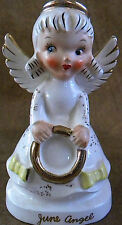 Antique Vintage Birthday Month June Angel Figurine w/ Gold Ring or Halo