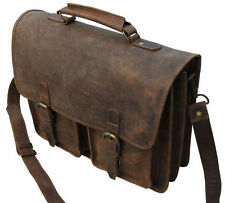 15 Inches Classic Genuine Crazy Horse Leather (Handmade) - Messenger Laptop bag