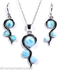 Genuine AAA Dominican Larimar 925 Sterling Silver Necklace & Earrings Set 18''