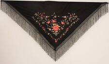 New Spanish Flamenco Shawl, Large - Black with Gold & Red Pattern & Black Fringe