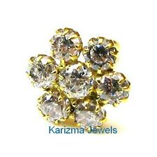 Indian Style Designer CZ Body Piercing Nose stud Pin Solid Real 14k Yellow Gold