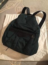 Balenciaga Men Unisex Backpack Padded Nylon Dark Green Bag Leather Excellent