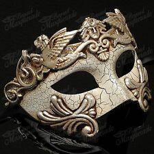 Mens Greek Roman Venetian Masquerade Ball Mask with Cracks [Silver]