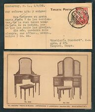 1027 MEXICO Adv. Postal Card PC Monterrey 1935 to Tampico / Antique Furniture