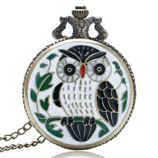 Retro Antique Style Owl Necklace Quartz Pocket Watch Vintage Steampunk Pendant