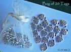 20 x Made with Love Heart Shape metal labels,tags silver alloy jewellery,crafts