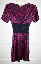 Ladies Juniors Bebe Purple Navy Elastic Smocked Waist Silk Mini Dress Sz S