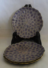 Vintage Metal Purple Gold Side Plate Bowl Dish Set of 3 Three Plates