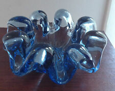 Stunning Funky Retro VTG Blue Art glass dish/centrepiece/candle holds Murano EXC