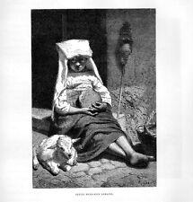 Stampa antica PASTORELLA della campagna di Roma 1877 Old print Rome