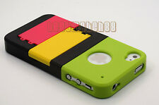 for iphone 4 4g 4s phone case hard slid in w/ kick stand & protector film\