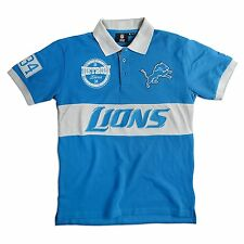 Detroit Lions SS Polo Rugby Shirt~Blue~Klew Woodmark~Men's Large~NFL~Ships FREE
