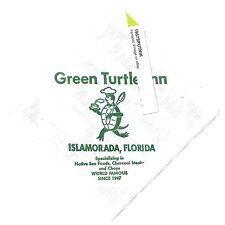 Green Turtle Inn bar Cocktail Napkin Islamorada Florida Vintage Graphics Magic t