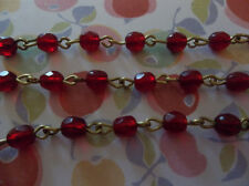 """Garnet Red 4mm Fire Polished Glass Beads on Brass Linked Bead Chain - Qty 18"""""""