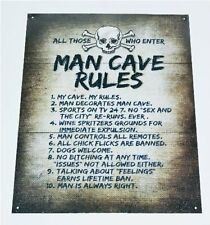 Man Cave Rules Metal Tin Sign Funny Novelty Wall Art Dorm Garage Den Home Decor