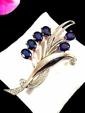 SENSATIONAL SIGNED PENNINO RHODIUM SAPPHIRE OVAL RHINESTONE FLORAL SPRAY BROOCH
