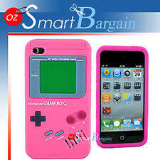 3D Nintendo GAME BOY PINK SILICONE SKIN CASE COVER F IPOD TOUCH 4th Gen 4G + SP