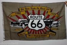 Route 66 Flag 5ft x 3ft - featuring classic Chevrolet & Ford Thunderbird