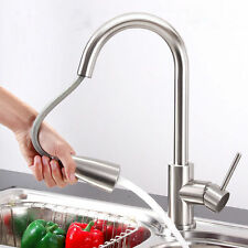 "16"" Brushed-Nickel Kitchen Faucet One Handle Pull-Out Spray Swivel Sink Tap US W"