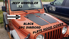 JEEP WRANGLER TJ 2pc black DIAMOND PLATE HOOD COVER