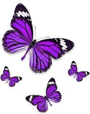 Set 4x sticker decal vinyl car bike laptop macbook bumber butterfly purple