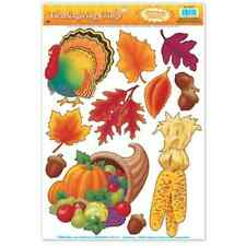Autumn Fall Thanksgiving Window Reusable Clings Indoor Decorations 11 Pcs